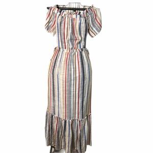 1. State Maxi Dress Size XL Cream Vertical Lines